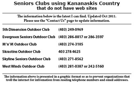 Seniors Clubs without Web Sites