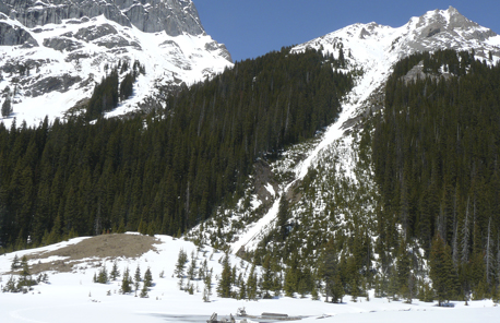 Mound and avalanche gully