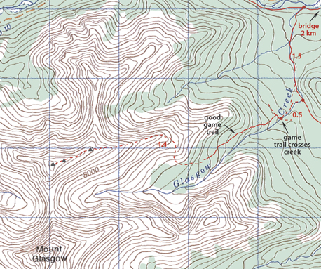 Upper Glasgow Creek Map