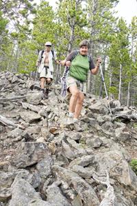 Descending the rocky ridge.