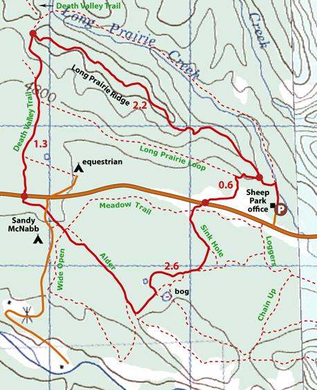 Long Prairie Ridge Loop map