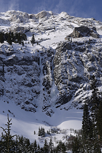 Twin waterfalls on eastern outlier of Commonwealth Peak