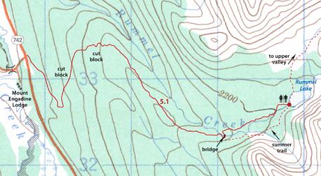 Map Rummel Lake snowshoe trail