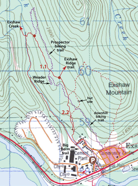 Exshaw Area Map