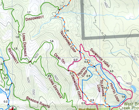 Sample section of map above West Bragg parking showing the only designated snowshoe trail.