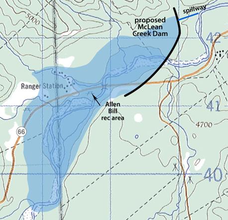 McLean Dry Dam map