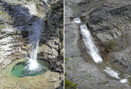Fall and pool below the junction (left) and fall in the north fork