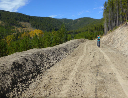 SLS constructed a sun/wind shade berm and upgraded the tread on Mountain View as part of their logging reclamation.